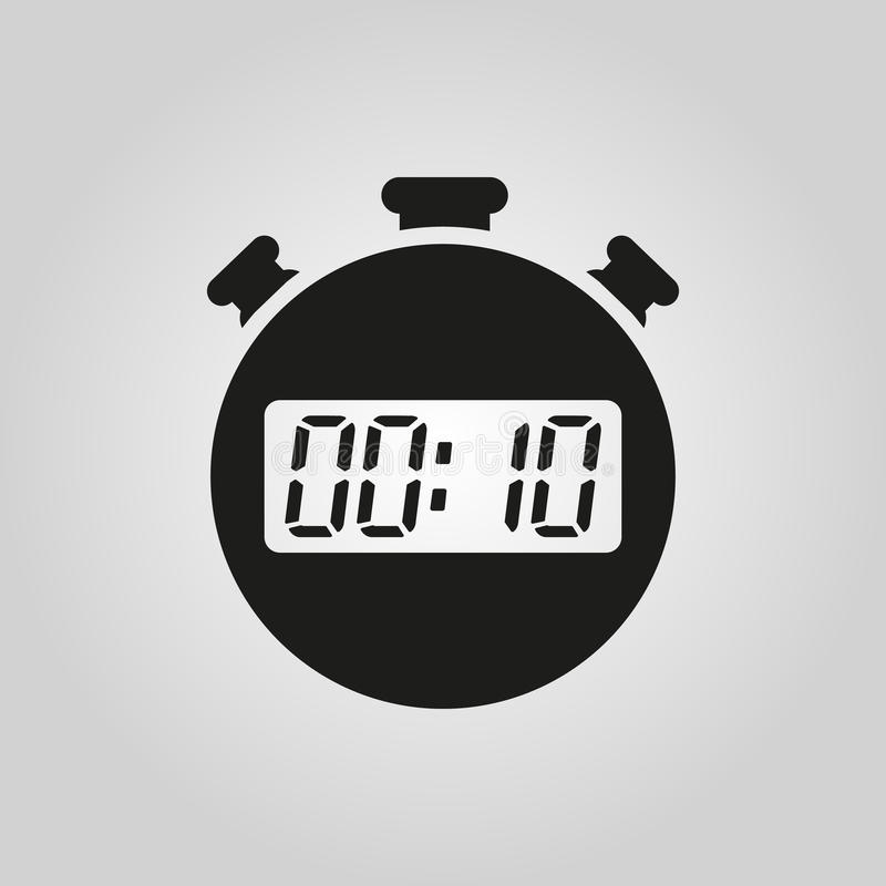 10 секунд, значок секундомера минут Часы и вахта, таймер, символ комплекса предпусковых операций Ui Веб логос Знак Плоский дизайн иллюстрация вектора