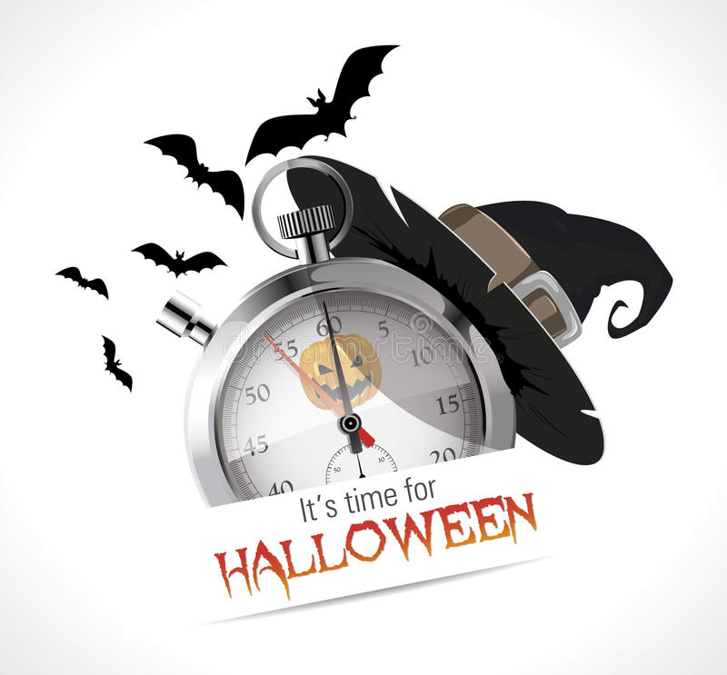 Секундомер - время на хеллоуин иллюстрация штока