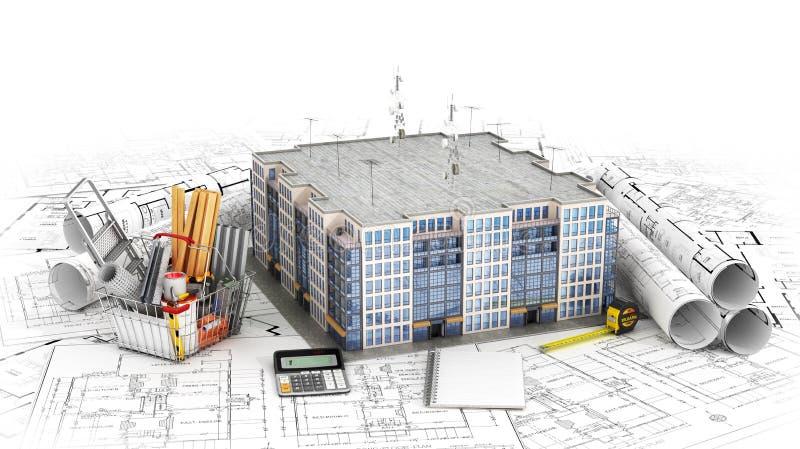 Селитебный дом с инструментами на светокопиях архитектора близкий проект жилищного строительства снятый вверх 3d иллюстрация штока
