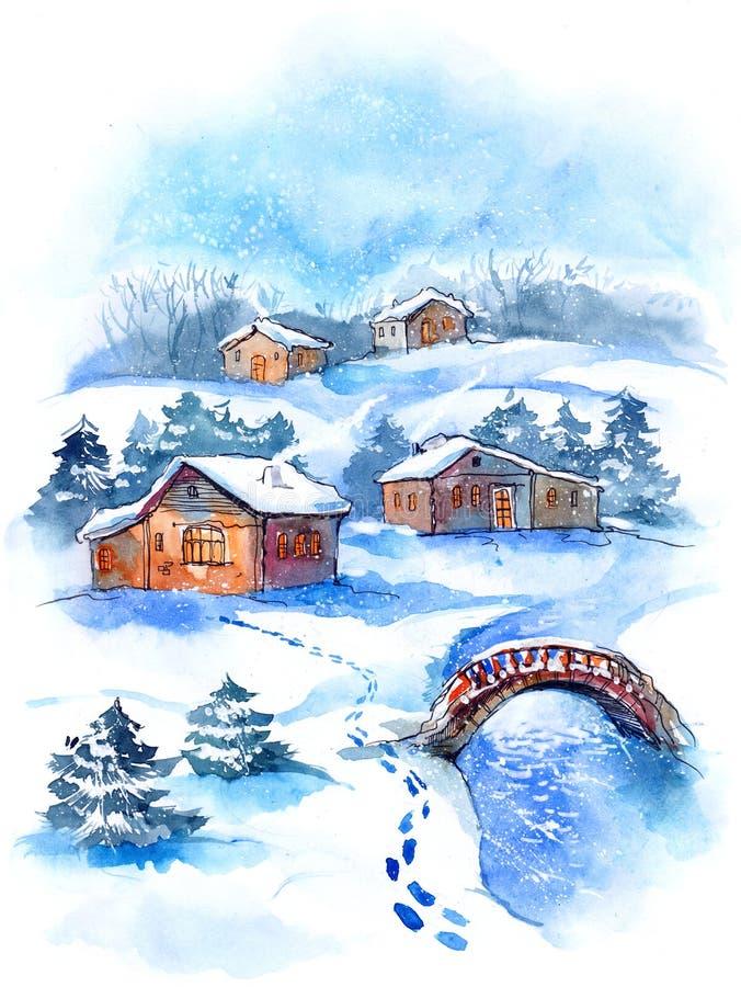 Село в зиме бесплатная иллюстрация
