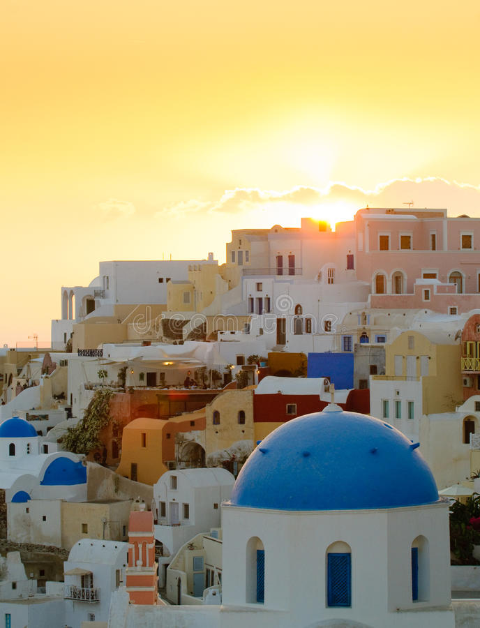 село захода солнца santorini oia острова Греции стоковые фотографии rf