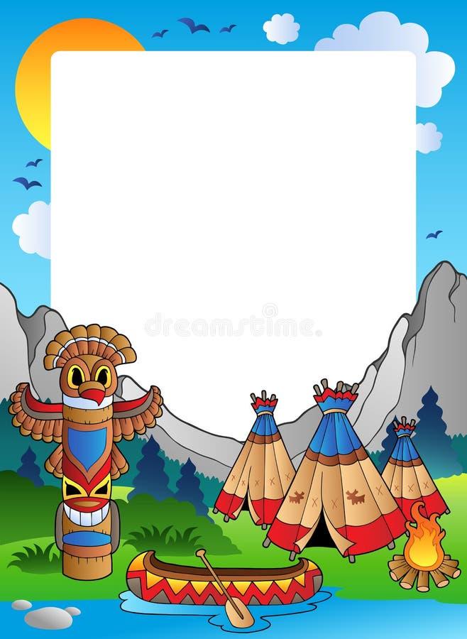 село индейца рамки иллюстрация штока