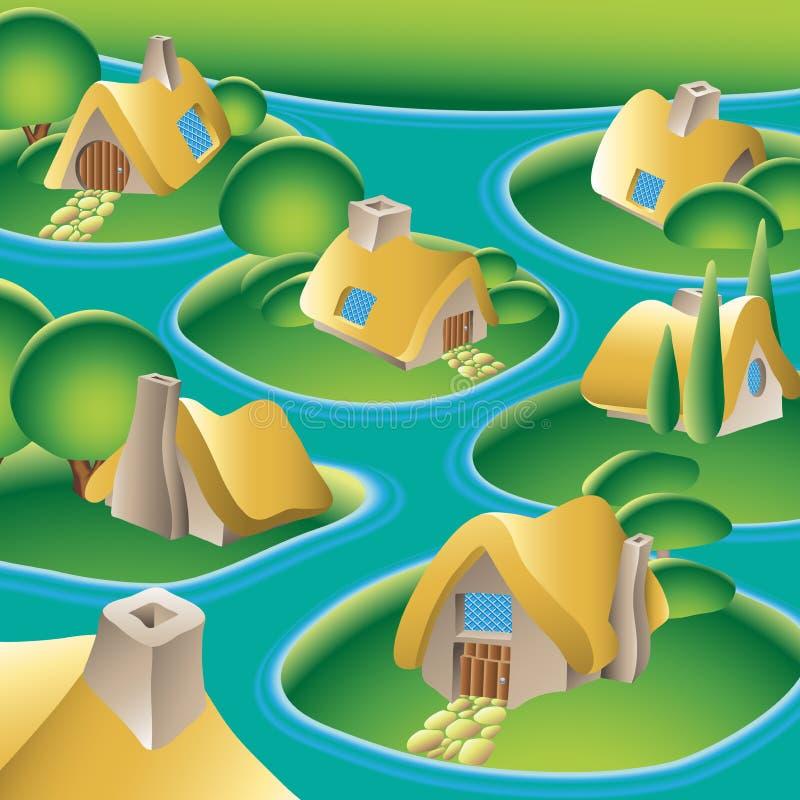 село реки иллюстрация штока