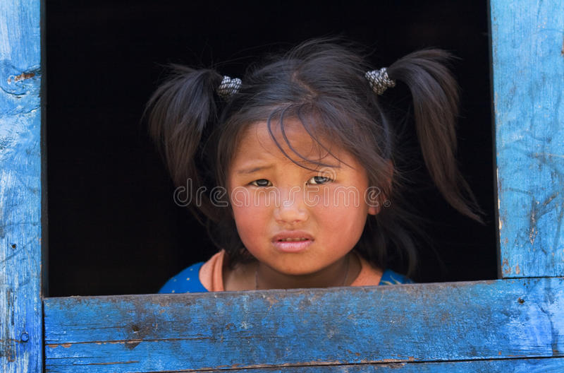 село тибетца беженцев девушки маленькое стоковые фотографии rf