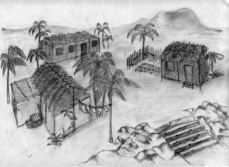село эскиза тропическое иллюстрация штока