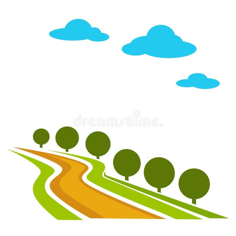 Сельская не-заасфальтированная дорога с деревьями и вектором неба иллюстрация вектора