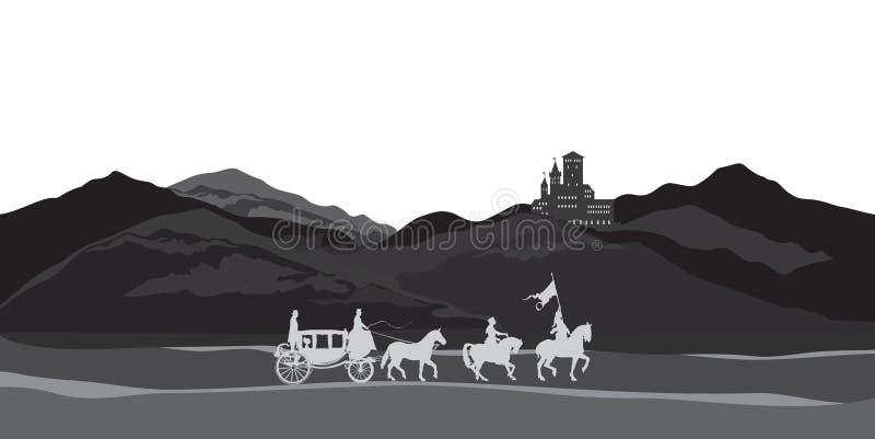 Сельская предпосылка природы с замком, экипажом, рыцарем Ландшафт гор бесплатная иллюстрация