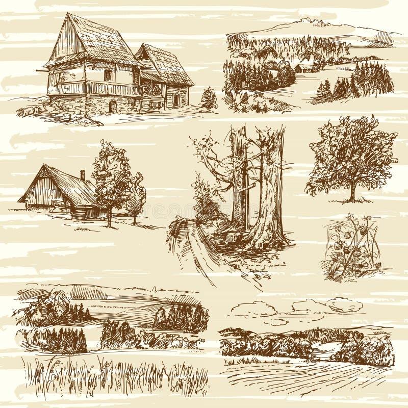 Сельские ландшафты и дома бесплатная иллюстрация