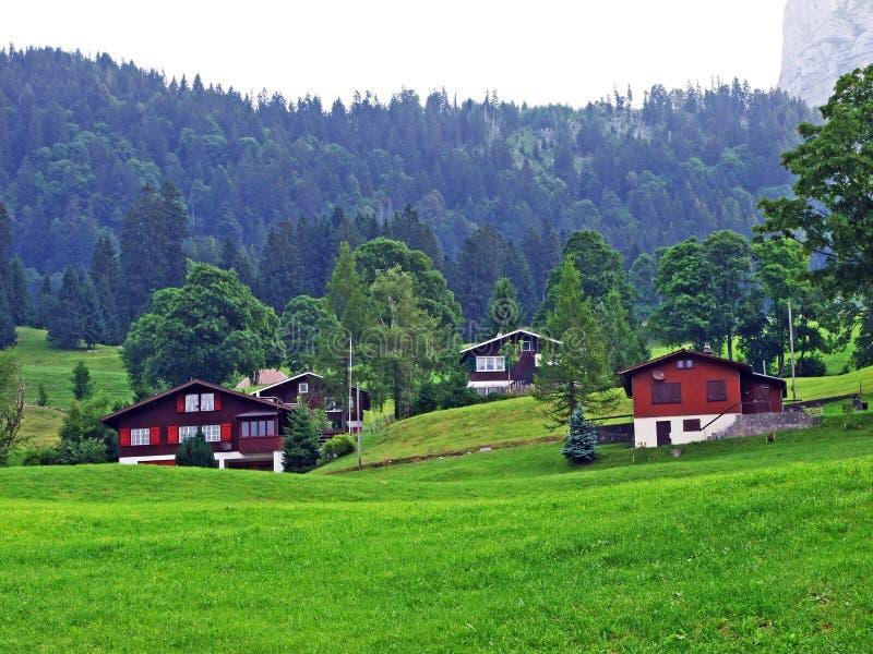 Сельские традиционные фермы архитектуры и поголовья на наклонах горной цепи Alpstein и в долину Thur реки стоковое изображение rf