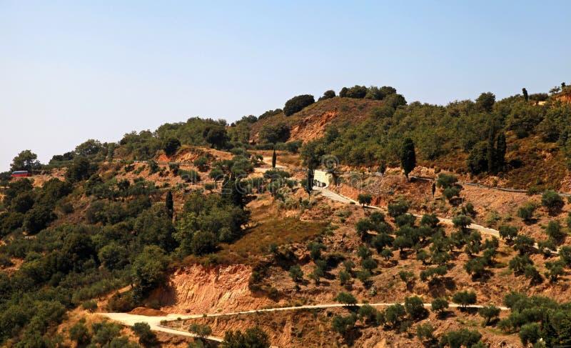 Сельский греческий ландшафт на холмах, Крит, Греция стоковая фотография rf