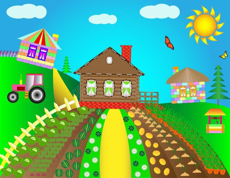 Сельский ландшафт с домами в деревне Дома детей красочные на предпосылке луга и голубого неба иллюстрация штока