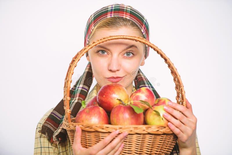 Сельчанин женщины жизнерадостный носит корзину с естественными плодоовощами Садовник фермера дамы гордый ее садовника женщины сбо стоковое изображение rf
