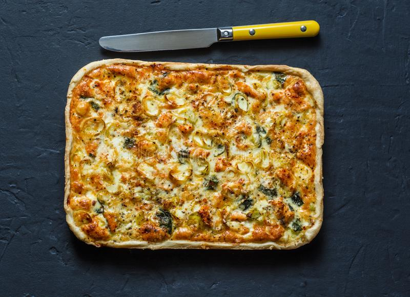 Семги, лук-порей, шпинат, пирог печенья слойки сыра на темной предпосылке стоковая фотография rf