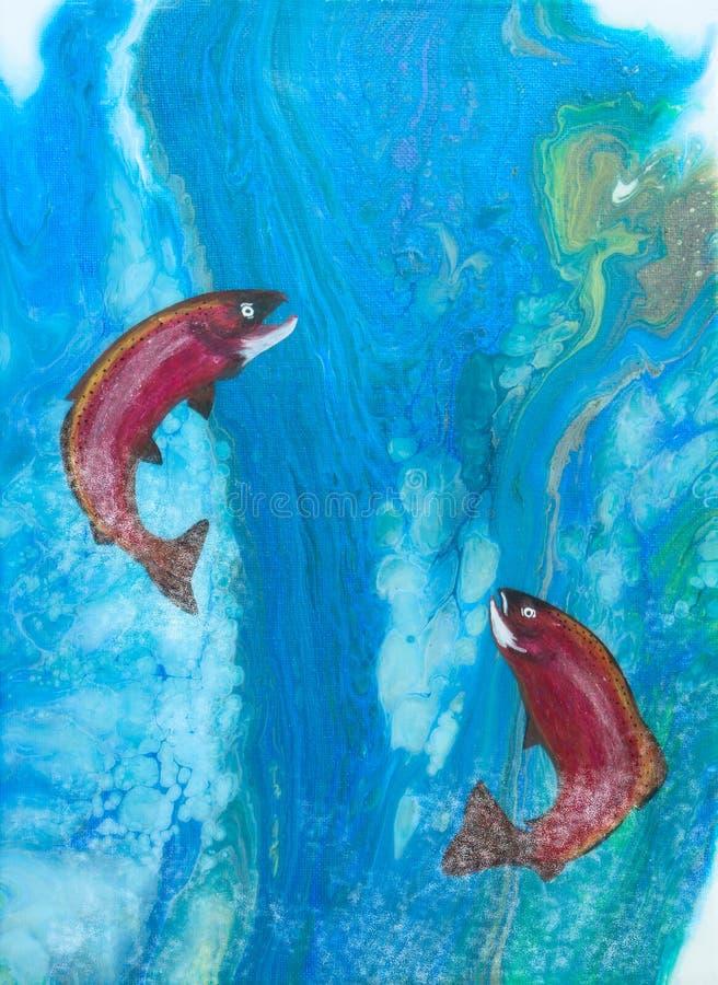 Семги скача в жидкий водопад искусства иллюстрация вектора