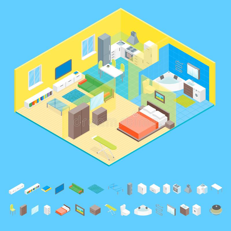 Семейные номера квартиры внутренние с взглядом мебели и элементов равновеликим вектор иллюстрация вектора
