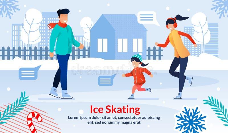 Семейный катание на коньках с плоским вектором бесплатная иллюстрация