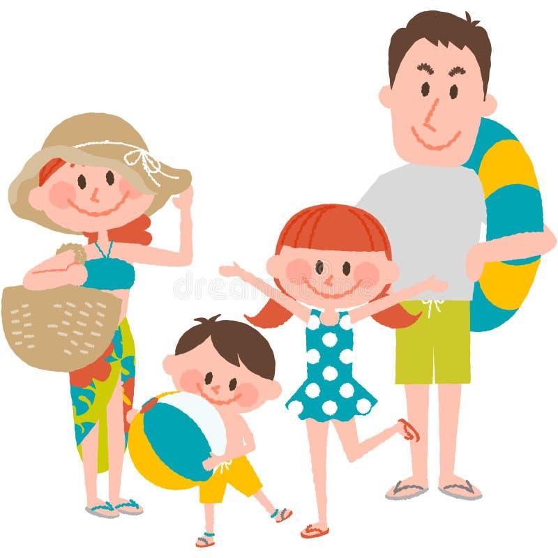 Семейный отдых на пляжном иллюстрация вектора