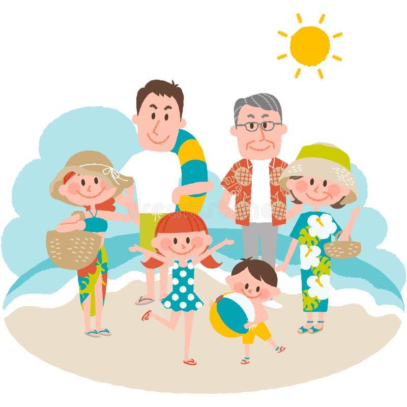 Семейный отдых на пляжном стоковые фотографии rf