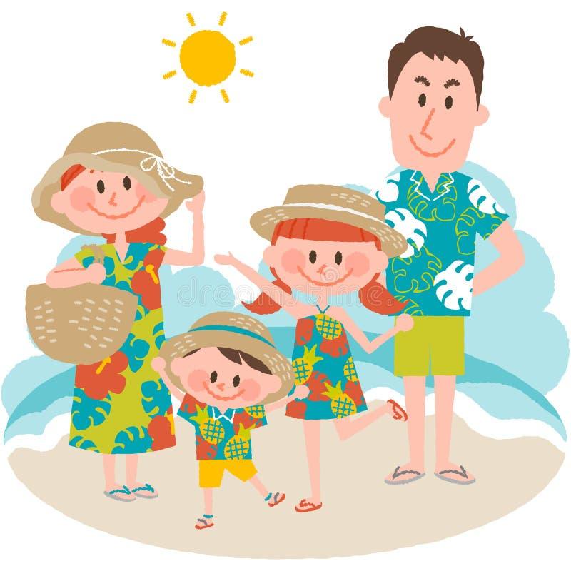 Семейный отдых на пляжном иллюстрация штока