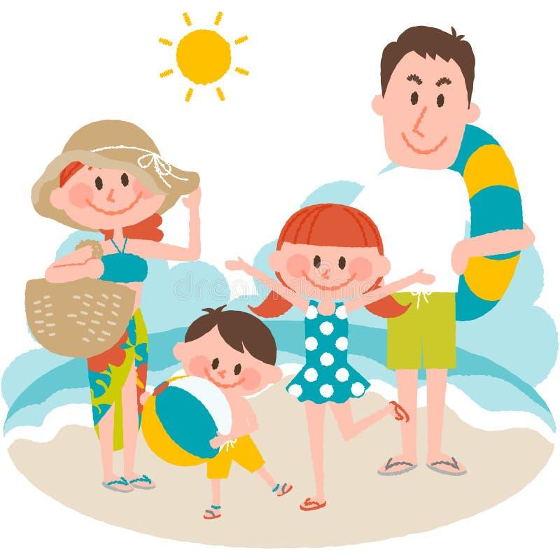 Семейный отдых на пляжном бесплатная иллюстрация