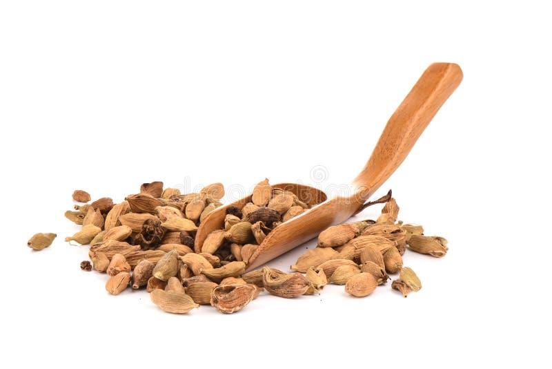 Семена кардамона на кулинарном деревянном ветроуловителе изолированном на белой предпосылке r стоковая фотография