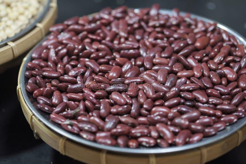 Семена красной фасоли Текстура бобов Конец вверх по красным фасолям предпосылке, семенам красных фасолей стоковая фотография