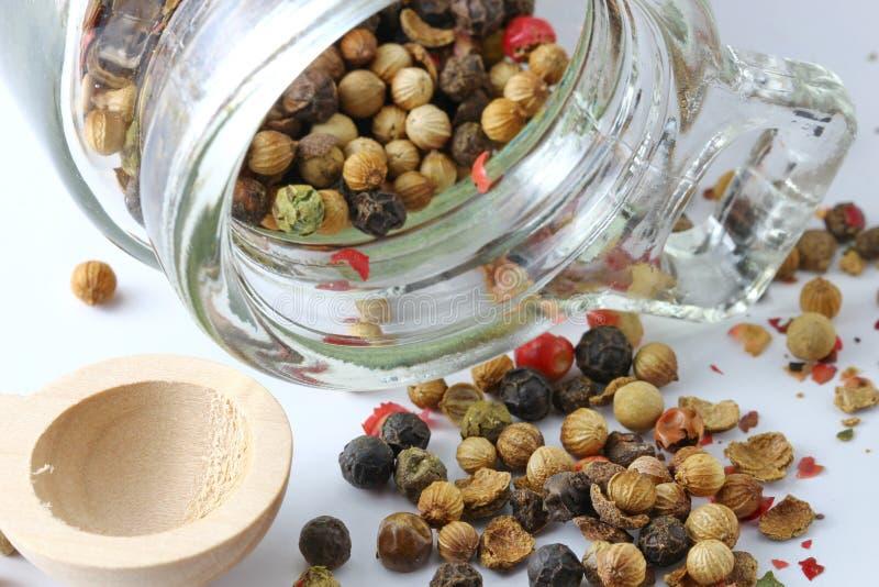 Семена черного, красного и зеленого перца стоковые изображения