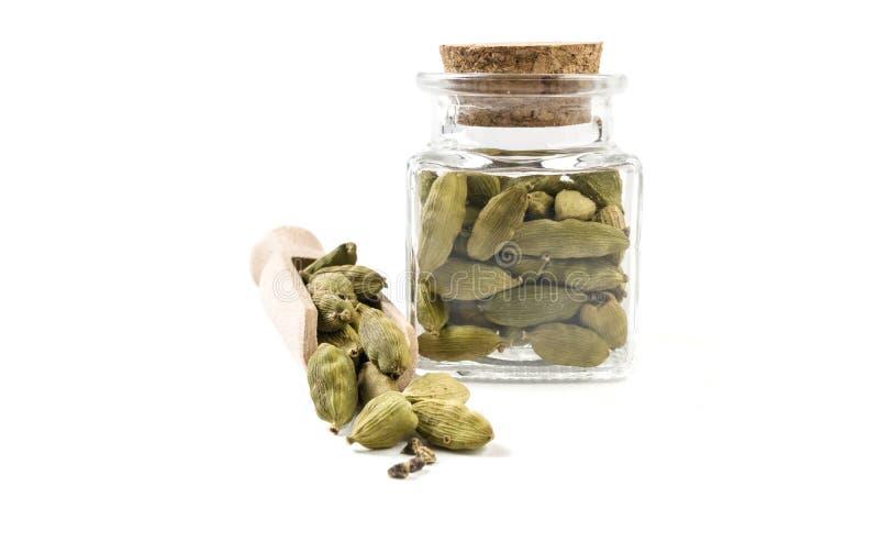 Семена Cardamon в деревянных ветроуловителе и опарнике на изолированный на белой предпосылке r специи и пищевые ингредиенты стоковые фотографии rf