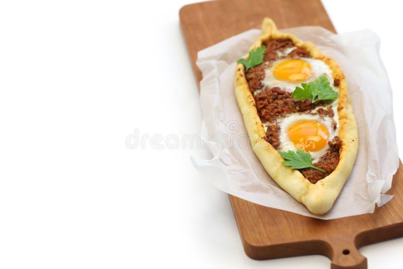 Семените pide мяса, турецкую пиццу стоковая фотография