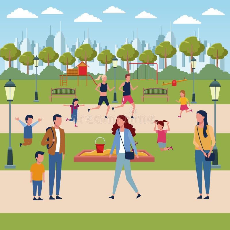 Семьи в парке бесплатная иллюстрация