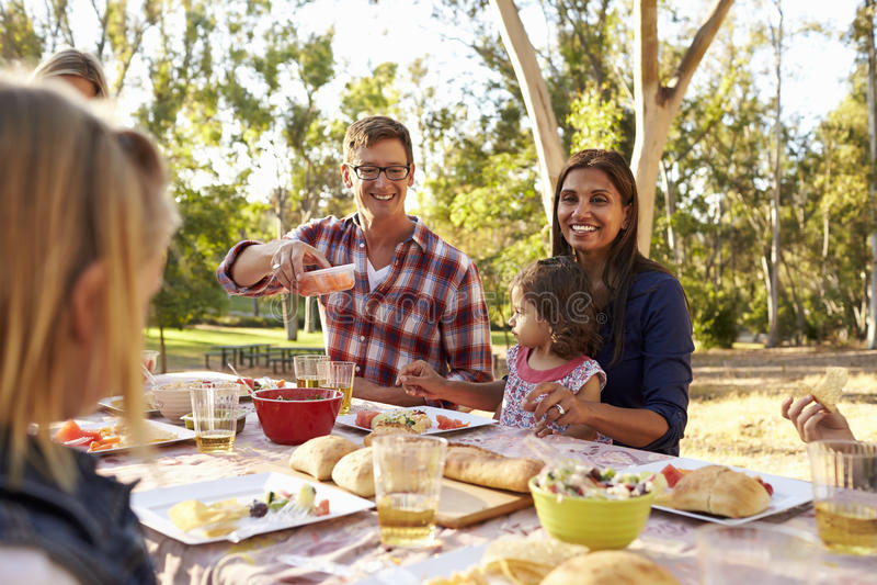 2 семьи имея пикник в парке, человеке проходя еду стоковое фото