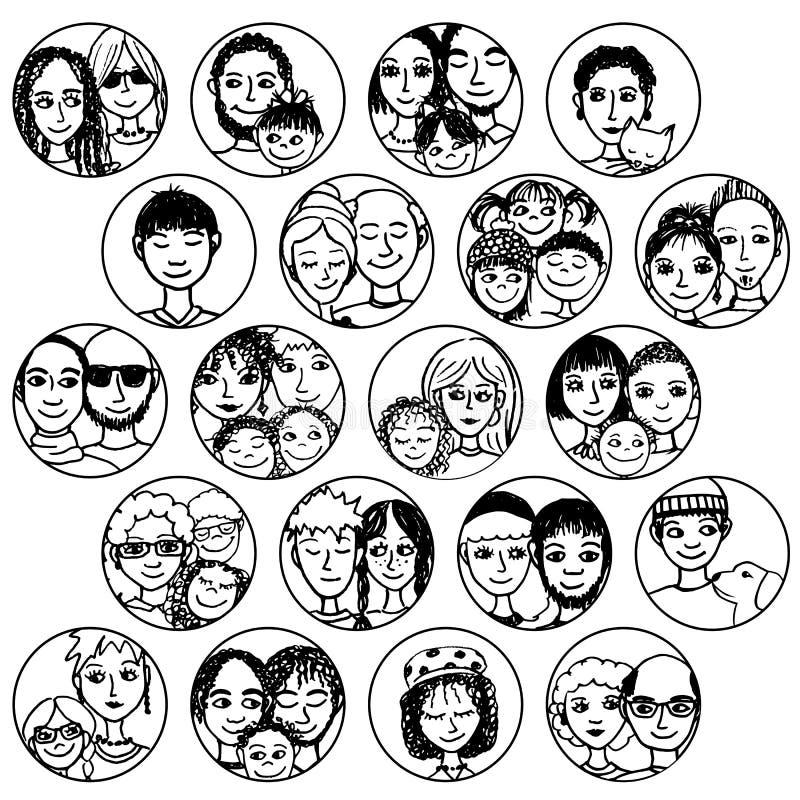 Семьи, пары, друзья, отпрыски, определяют многокультурный, многонациональный, смешанный & заплатка иллюстрация штока
