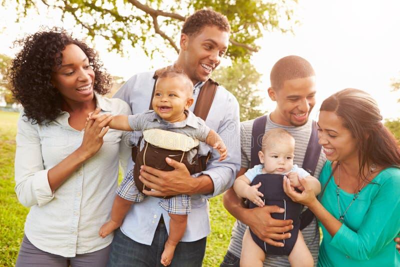 2 семьи при несущие младенца идя в парк стоковое изображение rf