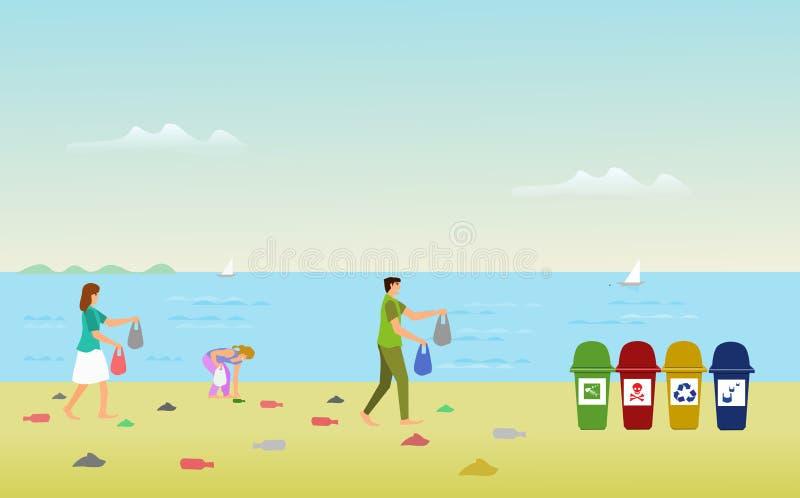 Семьи родителей помогают собрать твердые частицы на пляже для того чтобы выйти погань иллюстрация штока