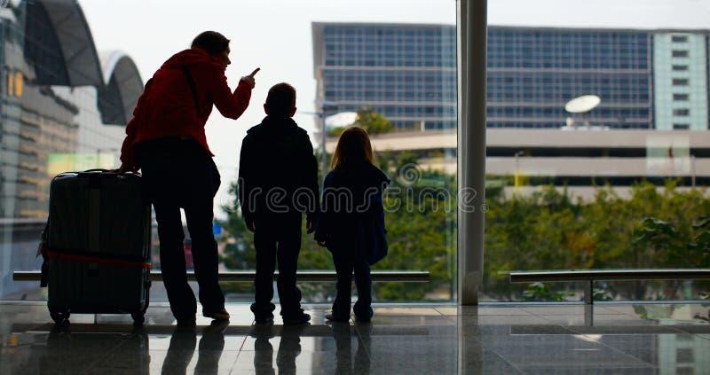 семья авиапорта стоковые изображения rf