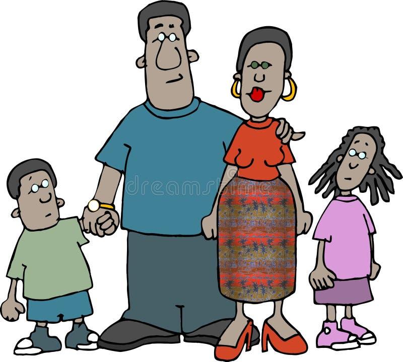 семья афроамериканца иллюстрация вектора