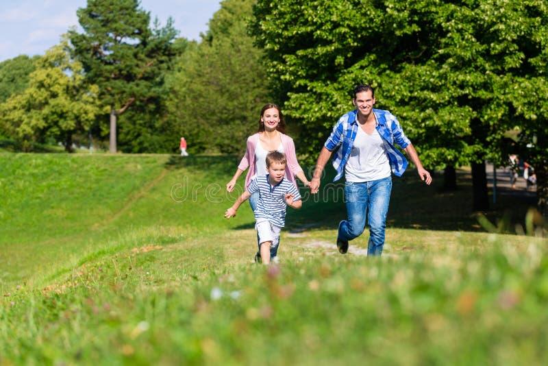 Семья бежать быстро в траве на луге стоковое изображение rf