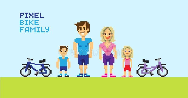 Семья велосипеда пиксела, pixelated иллюстрация иллюстрация вектора