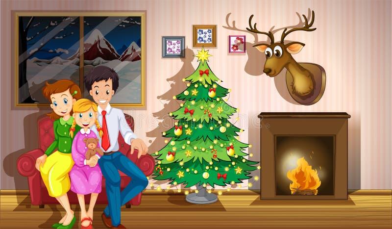 Семья внутри комнаты с рождественской елкой иллюстрация штока