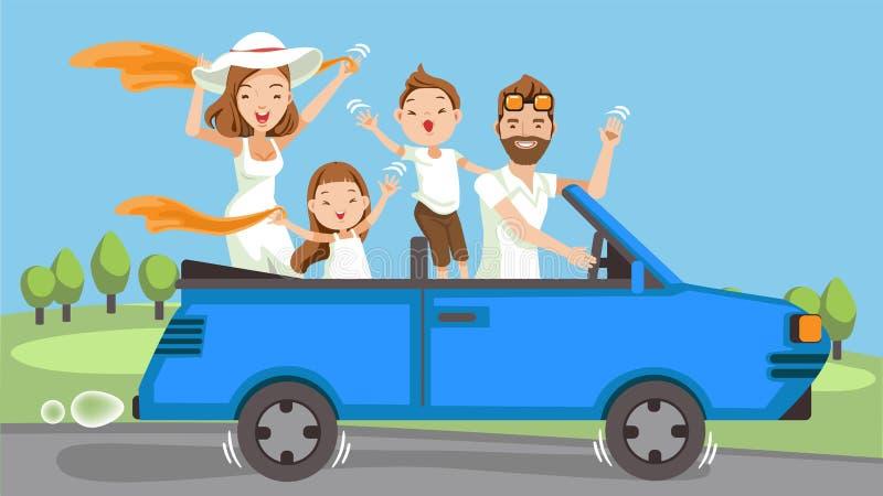 Семья в автомобиле бесплатная иллюстрация