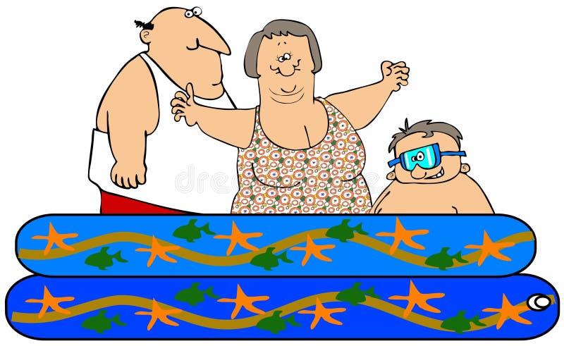 Семья в бассейне kiddie иллюстрация вектора
