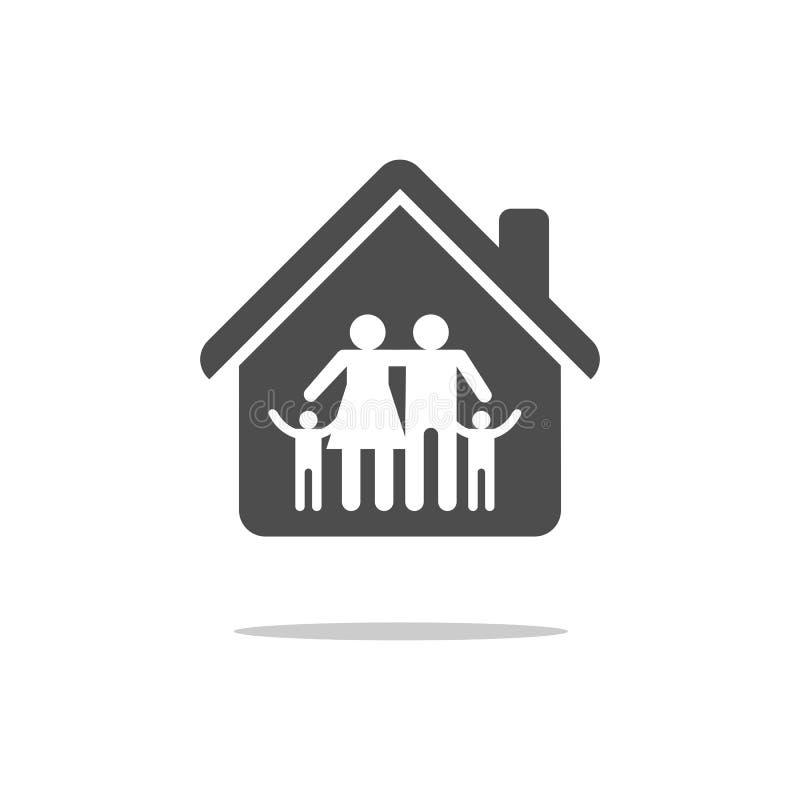 Семья в значке дома Иллюстрация изолированная вектором плоская иллюстрация штока