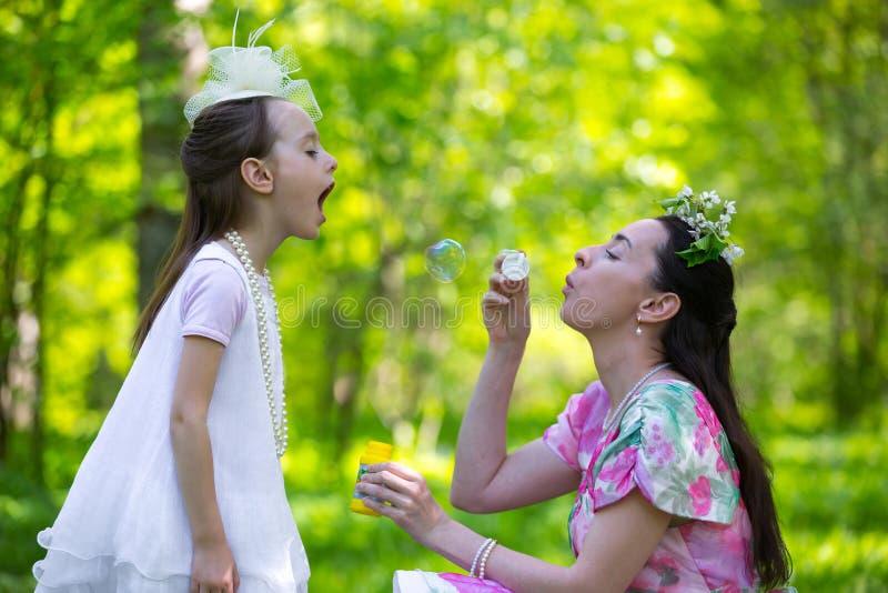 Семья в парке лета стоковая фотография