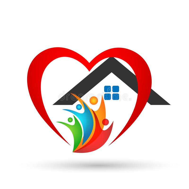 Семья в счастливом логотипе дома соединения, семья, родитель, дети, зеленая любовь, воспитание, забота, вектор дизайна значка сим иллюстрация штока