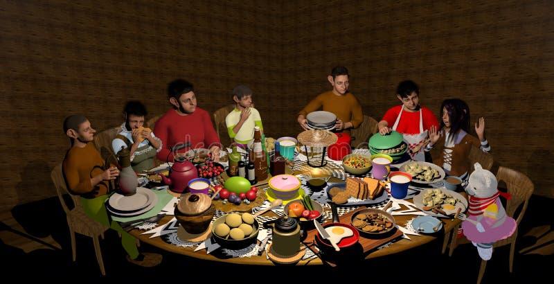 Семья гоблина есть обедающий стоковые фотографии rf