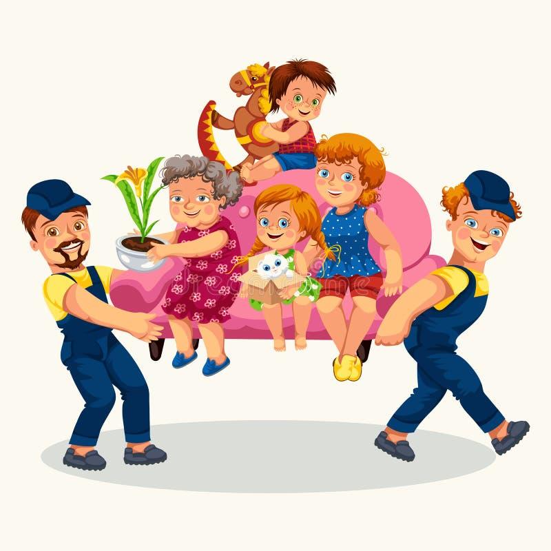 Семья двигает красочный плакат иллюстрация вектора