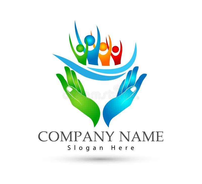 Семья держа соединение семьи значка рук, волну воды, любит заботу в логотипе рук иллюстрация штока