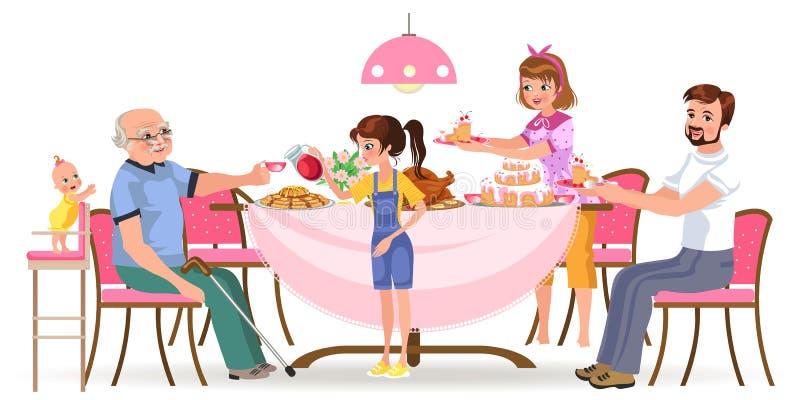 Семья есть обедающий дома, счастливые люди ест еду дед обслуживания совместно, мамы и папы сидя обеденным столом иллюстрация штока