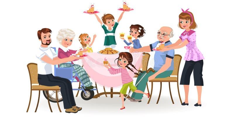 Семья есть обедающий дома, счастливые люди ест еду дед обслуживания совместно, мамы и папы сидя обеденным столом иллюстрация вектора