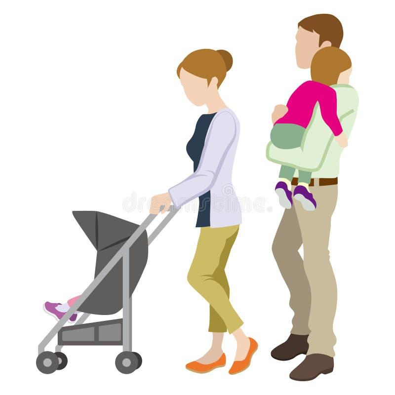 Семья детской сидячей коляски иллюстрация штока